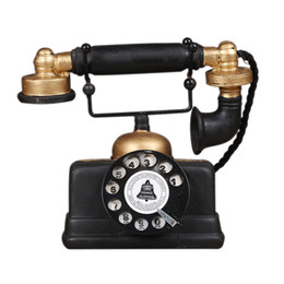 Vetrina per soggiorno online-HOT Loft industriale Retro Telefono rotativo Modello Artigianato Decorazione Negozio Cafe Soggiorno Decorazione vetrina