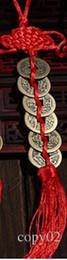 Dekoration vermögen online-Großhandelsroter chinesischer Knoten FENG SHUI Satz von 6 Glücksbringer alt I CHING Coins Wohlstandsschutz Good Fortune Home Car Decor