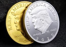argentati in metallo argento Sconti Fashion 2020 Donald Trump Moneta commemorativa Presidente americano Avatar Monete d'oro Distintivo d'argento Collezione di gioielli in metallo Repubblicano