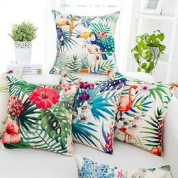 estampados de flores tropicales Rebajas Sofá para el hogar Funda de almohada decorativa Fundas de cojines para el hogar 45x45 cm Impresión de una sola cara Flor tropical Flamingo Lino DH0568
