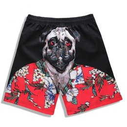 purple swim wear Coupons - Men's Board Shorts Swim Trunks Swimwear 3D Pugs Head Printed Beach Shorts Quick Dry Surfing Shorts Swimsuit Maldives Swim Wear