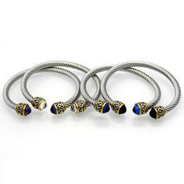 Витые кабели онлайн-Старинные титановые стали витой линии золотой двухцветный браслет кабельная линия 6 цвет кристалл браслет ювелирные изделия