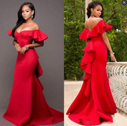 2020 vestidos de baile de cetim simples Africano Red Alças Prom Dress Plain Sexy Satin Mermaid Evening vestidos formais Vestidos Ruched Varrer Vestidos Train formal do partido vestidos de baile de cetim simples barato