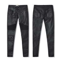 Chiusure lampo ghette nere in pelle online-W-Yunna nuova moda imitazione denim sottile leggings per donna nera moto streetwear pantaloni pieghevole cerniera PU pelle pantaloni