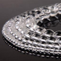 perles de quartz claires Promotion Cristal Naturel Blanc Clair Quartz Perles Transparent Ronde Perles En Vrac pour DIY Bracelet À La Main Bijoux Accessoires