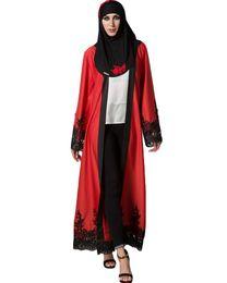 Robes musulmanes Cardigan Spliced Crochet Dentelle Ourlet À Manches Longues Islamique Vêtements Ramadan Abaya Maxi Robe Outwear Bleu / Rouge G9433BL-L ? partir de fabricateur