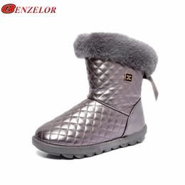 Botas de inverno brancas de pelúcia on-line-BENZELOR Inverno PU de Couro À Prova D 'Água botas de neve mulheres sapatos mulher Faux Fur mid-bezerro Quente De Pelúcia Femme Senhoras Booties Branco