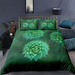 capas de edredon originais Desconto King Size Bedding Set Succulents Fashionable 3D Fresh Edvet Cover Green Queen Twin Full Single Double Unique Design Bed Set