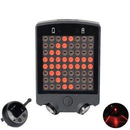 luce della bici a distanza Sconti Leadbike 64 LED Laser Posteriore per bicicletta Posteriore USB ricaricabile con bici senza fili Indicatori di direzione della bici Spia di sicurezza # 2M18