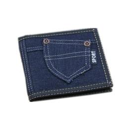 Мужские джинсы онлайн-мужчины / женщины кошельки 2018 новый оптовый ретро горячая распродажа 3 складные твердые холст джинсовые джинсы короткие молния зажим для денег кошелек винтаж