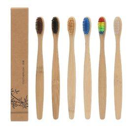 Cepillo de dientes de bambú de alta calidad Cepillo de dientes de nylon suave Capitellum con embalaje en caja Higiene oral Cepillos de dientes para blanquear Uso del hotel desde fabricantes