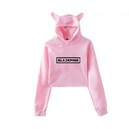 KPOP Blackpink Kawaii Crop Top Felpa con cappuccio K POP Black Pink Album Funny Cat Ear Cropped corta Felpa con cappuccio Pullover Top da donna da