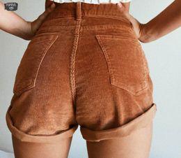 Nuevos pantalones cortos de pana online-La alta cintura elástico pana Pantalones cortos del nuevo mujeres cortas ocasionales cortocircuitos femeninos del verano flojo de la cremallera de los cortocircuitos del botón Streetwear