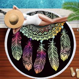 traje de baño hippie Rebajas Colorido Atrapasueños Borla Mandala Tapiz Negro Toalla de playa Toalla Bloqueador de sol Manta de yoga Estera 4 estilo 150 cm
