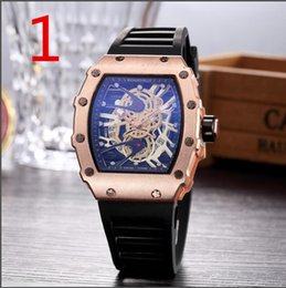 Cráneo reloj digital online-2019 Hot New Richard Mille Luxury Men Fashion Skeleton Watches hombres Skull sport reloj de cuarzo de negocios reloj de pulsera casual 04