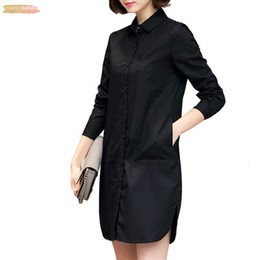 2019 леди случайные короткие свободные платья Платье-рубашка корейского стиля женская осень с коротким прямым платьем с длинным рукавом свободная повседневная одежда плюс размер женской одежды скидка леди случайные короткие свободные платья