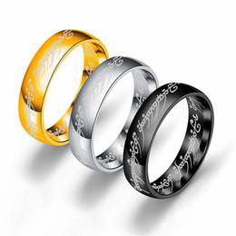 Baixo preço 3 cores Titanium aço O Hobbit Senhor dos Anéis anel de dedo 6mm 18 k prata ouro preto Anéis Mágicos para mulheres homens filme jóias de Fornecedores de jóias mágicas 18k