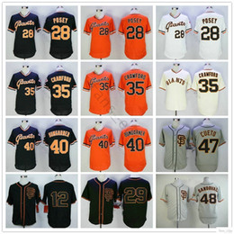 crawford baseball Desconto Costurado São Francisco # 28 Posey Giants 35 Brandon Crawford 40 Bumgarner Madison 47 Johnny Cueto 48 Camisas De Basebol De Pablo Sandoval