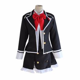 Laço uniforme da escola on-line-DIABOLIK AMANTES Komori Yui camisa casaco traje saia uniforme vestido set escola cheia Carnaval Anime (Jacket + Vest + saia + laço)