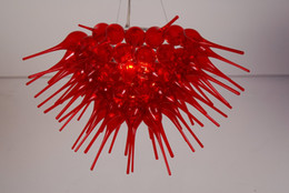 Argentina Luces de techo rojas contemporáneas 100% a mano Lámparas de cristal soplado Lámparas de cristal del arte LED para la venta cheap red contemporary ceiling light Suministro