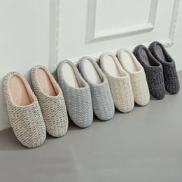 2019 tecido cristão 2019 estilo japonês Mulheres interior Chinelo Plush Chinelos Ladies Cotton Autumn Knitting Cashmere respirável sapatos Piso Indoor