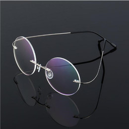memória de fábrica Desconto Baratos por atacado homens contratados super leve óculos redondos 46-18-138 óptico miopia sem aros memória para tomada de fábrica óculos