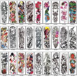 стикер дизайн дракона Скидка Новых Полного Arm Временных татуировок рукава Будда гейши Peacock пион дракон череп тата наклейка бедро талия татуировка для женщин мужчин