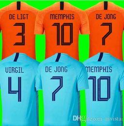 camiseta de fútbol naranja Rebajas 2018 2019 calidad tailandesa del fútbol de Holanda Jersey casera de naranja selección holandesa JERSEY MEMPHIS SNEIJDER 18 19 V.Persie holandesa de fútbol sh