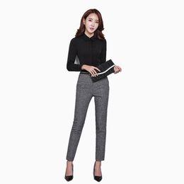 Escritório lápis calça senhoras on-line-Calças de Cintura Alta das mulheres Senhora do Escritório Trabalho de Negócios Calças Perna Reta Casual Moda Lady Lápis Calça 2019 Roupas Femininas Novo