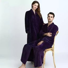 d19aa881ce couples long flannel robe women gown set men oversize loose home clothing  winter bathing robe thicker warm with zipper