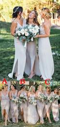 На Складе Серебряные Подружки Невесты Платья 2019 Спагетти Открытой Спиной Шифон Страна Свадебные Платья Фрейлина Платье Вечернее Платье от