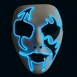 2019 enseignes au néon de bière de lune bleue BRELONG Halloween Horreur Rougeoyant Masque Cosplay LED Costume Masque Ligne EL pour Halloween Party Cosplay Lumineux