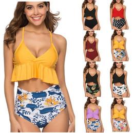2019 bikini alti polka dots della vita Bikini a vita alta 11 stili floreale a pois costume da bagno costume da bagno spiaggia all'aperto 2 pezzi / set OOA6779 bikini alti polka dots della vita economici