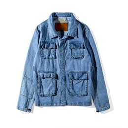 best denim washes Promo Codes - 2019 Best Quality Vetements Cooperation Classic Vintage Women Men Denim Jacket Hiphop Pocked Light Wash Men Jacket Coat