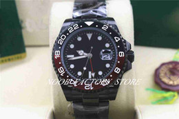 Montre de luxe en acier pvd en Ligne-Luxury 4 Style GMT II Ceramic Bezel 40MM Mens Automatic 2813 Movement Watch Full PVD Black Steel Men Watches 116710 Mens Watches Wristwatch