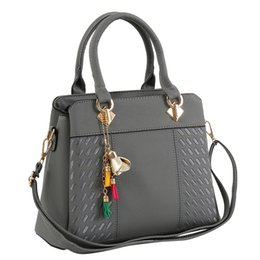 d12a0763f9d4 Fashion Women Handbags Tassel PU Leather Totes Bag Top-handle Embroidery  Crossbody Bag Shoulder Lady Simple Style Hand Bags