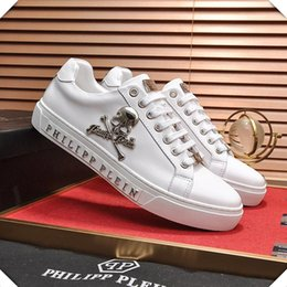 mens skull shoes Coupons - Vintage Fashion Mens Shoes Flats Lo-Top Sneakers Statement Original Skull Fashion Sneakers Lace-Up Herren Sportschuhe Platform Men Shoes #35