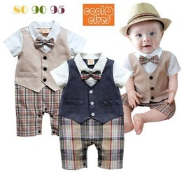 Los bebés varones mameluco a cuadros del verano nuevos niños de la solapa chaleco corto falso dos piezas monos diseñador de moda niños ropa niños Y5357 desde fabricantes