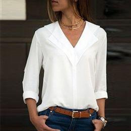 2019 maniche lunghe in crochet peplum Camicetta bianca a maniche lunghe in chiffon camicetta doppio scollo a V Donna T-Shirts e Office solido camicette Camicia Lady camicetta Blusas Camisa