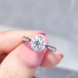 кольца обручальные Скидка AEAW Brand diamond Lotus кольцо роскошь 18K белое золото 0.3 CT цветок бриллиантовое кольцо обручальное для женщин