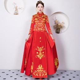 Chinesische braut kostüm online-Elegante Frauen Ehe Anzug Chinesische Rote Stickerei Qipao Vintage Cheongsam Klassische Braut Hochzeit Party Tang Kostüme