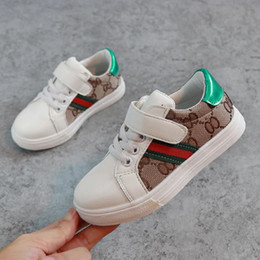 leather strap stitched Coupons - New Fashion Designer Children's Shoes Kids Casual Shoes Korean Stitching Pattern Shoes for Baby Boys Running Sneaker Shoe