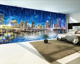 landscape photo painting hd Promo Codes - Custom Photo Mural Wallpaper Retro HD night city night city landscape panorama Wall Painting Bedroom Living Room Sofa 3D Wall paper