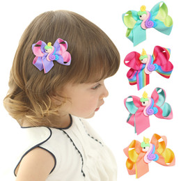 Kinder haarclip blume online-Einhorn Haarspangen Kinder Regenbogen Haarschleifen Jojo Einhorn Design Mädchen Haarspangen Baby Blumen Bogen Clip Haarschmuck GGA2156