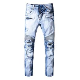 Jeans para hombre de rock revival online-Balmain Jeans Moda Hombre Jeans Motocicleta Biker Jeans Rock Revival Skinny Slim Ripped Hole Mens Denim Designer Pants