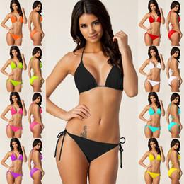Einfache badebekleidung online-Plain Badebekleidung Frauen Bikini Badeanzug sexy feste brasilianischen Badeanzug einfache Art und Weise falten Schlinge Riemen Tankini Set LJJ-AA2398
