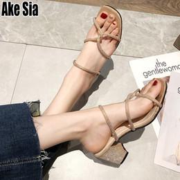 plateforme sandales chunky à talons hauts Promotion Sexy Mode D'été À Bout Ouvert Femmes Féminines Filles Strass Casual Chunky Talons Hauts Dame Sandales Plate-Forme Pantoufles Chaussures A744