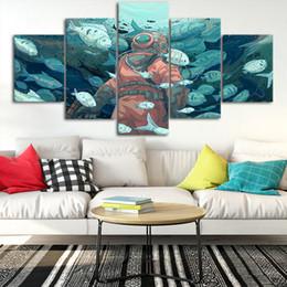 peintures mer Promotion Plongée en mer art peinture Toile Affiches Mur Art Cadre 5 Pièces Peintures Pour Salon HD Prints Images