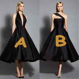 um ombro pouco preto vestidos Desconto Little preto vestidos de noite um ombro vestido de baile chá comprimento plus size prom dress mangas elegante cocktail vestido de baile