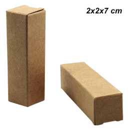 cardboard gifts Promo Codes - 2x2x7 cm Brown 100pcs Kraft Paper Lip Stick Storage Box for Birthday Party Gifts DIY Cardboard Lipstick Perfume Bottle Wedding Packaging Box